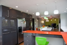 HDD Studios Portfolio:  KID FRIENDLY modern citrus kitchen / Completely custom... one big family space. Living room, dining room, kitchen and homework stations created by HDD Studios / by HDD Studios