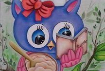pintura corujas e galinhas