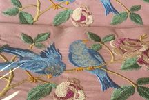 Standard Pillow Cases of Antique Birds and Lavender Buds.