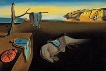 Salvador Dalí Gemälde / Salvador Dalí war ein spanischer Maler. Als einer der Hauptvertreter des Surrealismus zählt er zu den bekanntesten Malern des 20. Jahrhunderts. Schmelzende Uhren, Krücken und brennende Giraffen wurden zu Dalís Erkennungsmerkmal. Sein malerisches technisches Können erlaubte es ihm, seine Bilder in einem altmeisterlichen Stil zu malen, der an den späteren Fotorealismus erinnert.