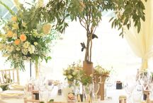 Tree Table Centres / A lovely July country wedding in Kent.  Garden drinks and marquee dinner and dancing