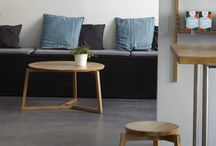 3Way coffee tables and stools / Solid ash or oak coffee tables and stools. Made in Finland. Made by hand.