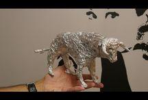 Esculturas de papel aluminio