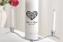 Personalized Unity Candle and Matching Toasting Glasses / With all the designs and colors you have your own originals for your Wedding Day