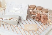 Rose Gold Workspace / Rose gold and copper workspace decor and design inspiration