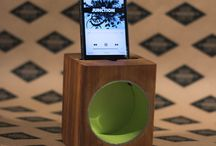 "Travel RAD acoustic iPhone Sound dock / Good things come in small packages! Introducing the ""Travel RAD"". A smaller, lighter version of our ""RAD block"" that delivers just as much PUNCH!   Available in bright new colours!  Toss it in your purse or backpack and pump up the volume wherever you go! / by Mono Centre Salvage & Wood Co."