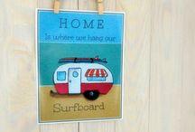 surfer camper drawing
