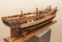 Models of sailing ships and yachts