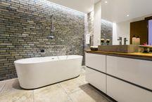 bathroom gray limestone