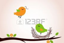 Spring / Cute spring images. Vector Illustrations by Jana Guothova