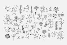 Flowers and greenery ink illustrations