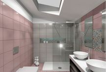 Think Pink / Ντουζιερα SLIM 140x80 cm με ύψος 6 cm-  Επιπλο μπάνιου σε απόχρωση WENGE και καπάκι απο CORIAN του οίκου LEFFETTO-  Νιπτήρας SIGN με διάμετρο 40 cm-  Λεκάνη και Μπιντέ της εταιρείας DURAVIT-  Βρύσες ITALIA του εργοστασίου LaTorre-