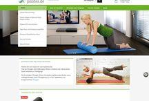 Propjektscreens www.pilates.de / Konzeption, Design und Realisierung eines responsive E-Shop für Produkte rund um das Pilates Training mit online Übungen und Blog, gängigen Bezahlschnittstellen wie amazon pay und paypal sowie Anbindung an das Warenwirtschaftsytem unseres Kunden.