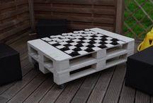stolik kawowy palety szachy