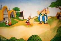 nursery mural asterix obelix / it;s a handpainted mural  in a boys room painted with acrylic colors asterix obelix