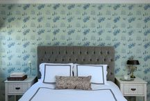 Bedroom: Toile in Mint / An inspirational scheme using Krane by Sharon Lee fine hand-made wallpaper..  www.kranewallpaper.com