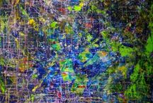 Abstract art primarily blue. / Abstractions which blue is the predominant color.