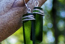 Olive Green Glass / Deep olive colored glass from vintage wine bottles taken from the antique glass dumps in the woods.