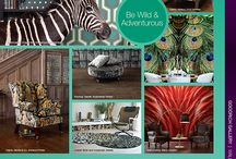 THE ANIMAL KINGDOM / Add some exotic CHIC to your walls and inject some FUN and STYLE into your living space..Make a BOLD statement with WILD and ADVENTUROUS selection of wallcoverings, carpets, fabrics, floorings this July.