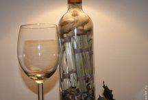 Светильники. Мои работы. / Настольные светильники с основанием из бутылок. Различное наполнение. Абажуры, в том числе, декупаж.