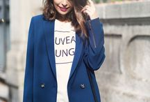 Marry a blue coat with black skinny jeans for a standout ensemble.