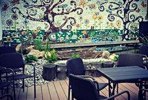 garden wall mosaic in Velke Popovice / My Large Scale Mosaic Project of 2015/2016, app. 20 m2 @ Café Posezení u Andělky, Velké Popovice, Czech Republic