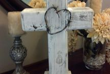 Products I Love / Standing wood cross. Centerpiece for wedding shower, baby shower or gift. @Easy MLOldRuggedCrosses / by Lori Douglas O'Hara