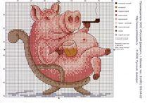 вышивка свинка
