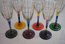 Champagne Flutes / Standard Flutes in my Line Dot Design, Gem color theme plus yellow, gold accent