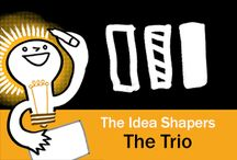 The Idea Shapers: The Trio / In her 2016 book The Idea Shapers, Brandy Agerbeck makes visual thinking attainable and enjoyable through a set of 24 Idea Shapers. The Trio is the second visual thinking concept in the third step, CONNECT + CONTAIN.