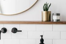 beauty bathrooms / must haves: •black appliances  •two big basens •plants •natural theme •wooden features •pattern tiles + rectangle or hexagon tiles •marble is a must  includes: •candles •fluffy towels •delish smelling soaps •perfect lighting