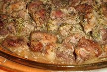 мясные блюда / мясо по-грузински, куриные сердца