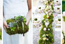 Mech w ślubnej dekoracji / Dekoracje ślubu i wesela wykonane z mchu