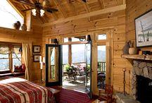 master bedroom log house
