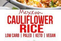 Riced cauliflower fried rice
