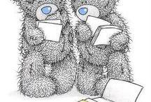 miś z niebieskim nosem