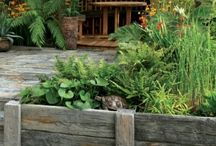Wooden Sleepers - ideas for usage / Wooden sleepers come in all sorts of colours and sizes and are ideal for edging gardens, creating raised beds and separating off zones - here are some of our ideas.