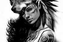 girls with animal headdress tattoo ideas