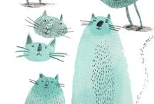 Cats : : illustration / cat drawings, pictures, paintings, illustrations, comics, cartoon, doodles.