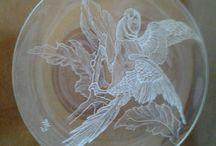 articoli in vetro inciso a mano / incisioni su vetro con frese diamantate, in pietra dura ed al silicone