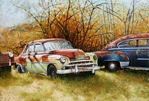 Vintage Car Paintings by Debra Dee Art / Art collection of Classic Vintage Cars painted in Oil   -    Fine Art Prints available Canvas Acrylic and Metal  on my artist website  www.debradeeart.com