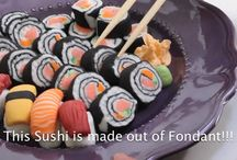 Sushi in fondant and on Cakes