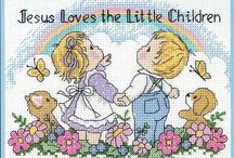 Schema punto croce jesus loves the little children