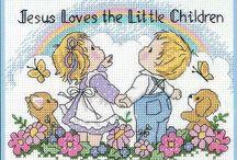 Schema punto croce jesus loves the little children