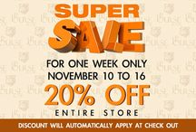 SUPER SALE !!! for one week only, november 10 to 16, 20% off entire store