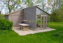 Trägård, terass, växthus