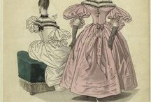 1830-1834 women / Female fashion for ladies in the early 1830s. Reference for artwork.