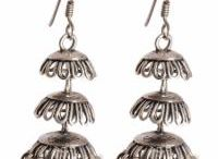 925 Sterling Silver Jhumkas / Abhooshan presents Antique and Designer Jhumkas/Jhumkis in 925 Silver with or without semi precious stones.