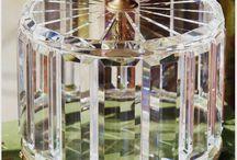 R * Cut crystal glass