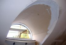 Plaster Restoration Case Study - Leslie Road, Glasgow / This client had an interesting curved soffit detail at their bathroom window. Having initially tried to create the right shape using flexible hardboard, they asked Reproduction Plaster to make a precast plaster soffit.  This fibrous plaster created the ideal shape, leaving the client with a beautiful soffit moulded perfectly to their sloping wall.